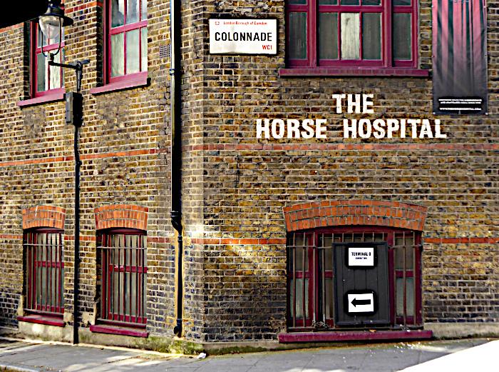 Foto van gebouw met opschrift 'The Horse Hospital'