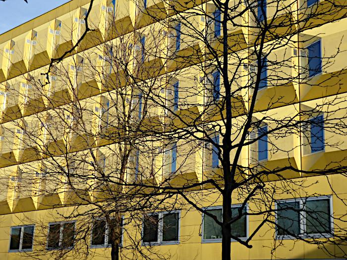 Foto van geel gebouw