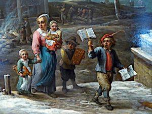 Foto van detail schilderij met almanakverkoper