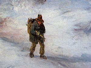 Foto van detail schilderij met man met last op rug