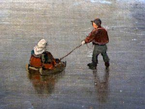 Foto van detail schilderij met jongen, die meisje op slee trekt
