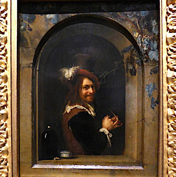 Foto van schilderij van pijprokende man in raam