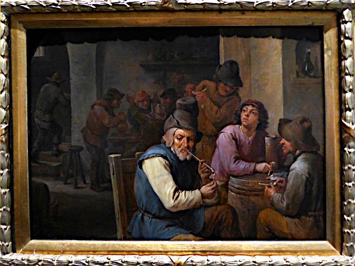 Foto van schilderij met rokers in herberg