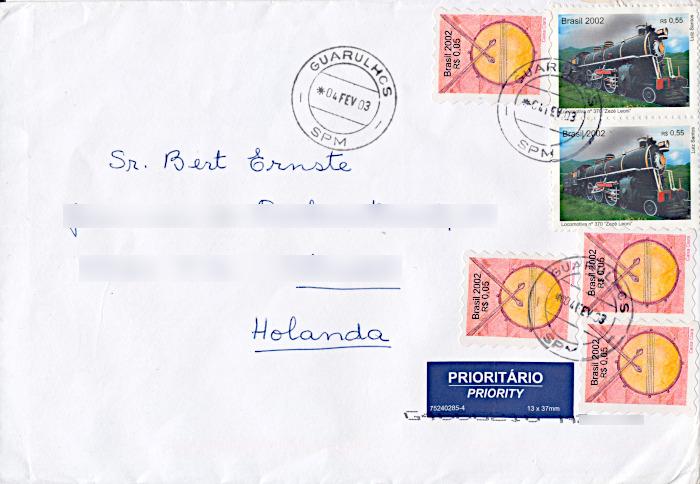 Foto van brief met Braziliaanse postzegels