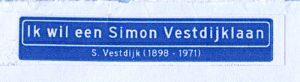 Scan van sticker 'Ik wil een Simon Vestdijklaan'