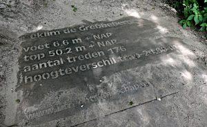 Foto van steen met gegraveerde cijfers over de trap