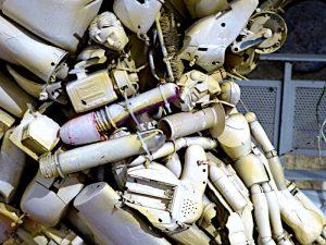 Detailfoto van beeld van plastic afval