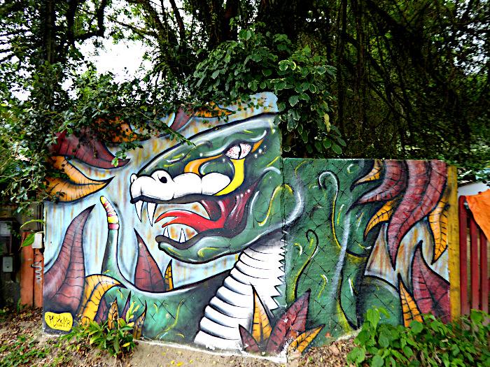 Foto van muurschildering van draak