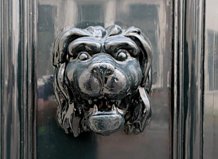Foto van leeuwenkop op houten deur